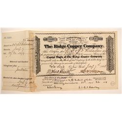 Ridge Copper Company Stock Certificate, 1881