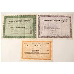 Three Different Michigan Copper Mining Stock Certificates