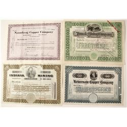 Four Different Michigan Mining Stock Certificates