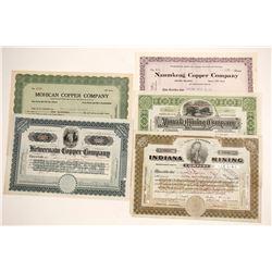 Five Michigan Mining Stock Certificates