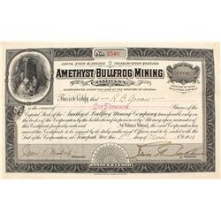 Amethyst Bullfrog Mining Co. Stock Certificate, 1909