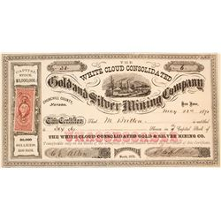 Rare White Cloud Mining District Stock Certificate, 1872