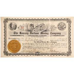 Rare Ramsey Durham Mining Co. Stock Certificate