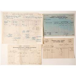 Four Tonopah Assay Certificates