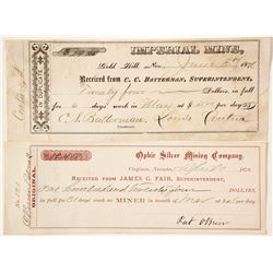 Two Rare Comstock Mining Paychecks: Imperial Mine & Ophir Mine