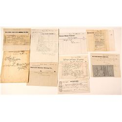 Virginia City, Nevada Mining Billheads & Documents