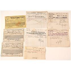 Virginia City, Nevada Billheads & Express Receipts