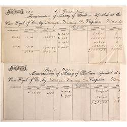 Van Wyck Assay Receipt Pair, Virginia City, Nevada