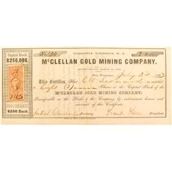 McClellan Gold Mining Company Stock Certificate, Comstock, Nevada Territory