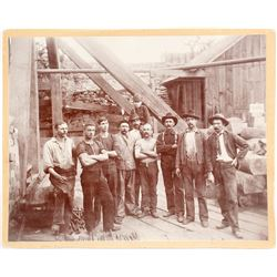 c.1885 Mounted Photograph of Miners Posing at Mine Shaft at Virginia City, Nevada