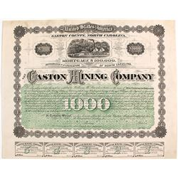 Rare and Early! Gaston Mining Company Mortgage Bond