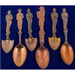 Six Copper Mining Spoons