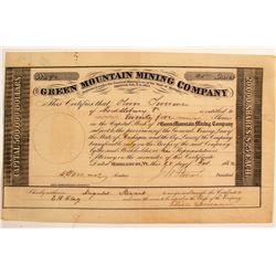 Rare Green Mountain Mining Company Certificate (Michigan)