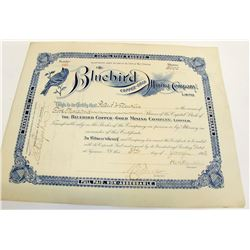 Bluebird Copper-Gold Mining Co. Stock Certificate, 1903, Utah