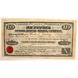 Keystone Consolidated Mining Company Stock Certificate, Red Cliff, Colorado