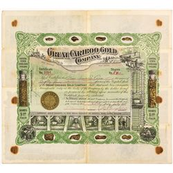 Great Cariboo Gold Company Stock Certificate, British Columbia