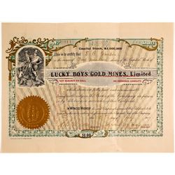 Lucky Boys Gold Mines, Ltd. Stock Certificate, Ontario