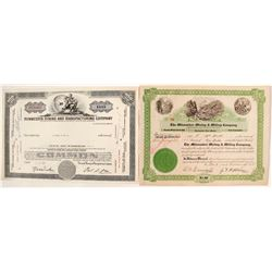 "Two Different 3 ""Ms"" Mining Stock Certificates"