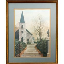 Signed Print of Church by E. H. Burger