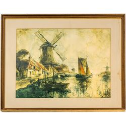 Print of Windmill and River