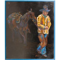 Oil Pastel of Cowboy with Horse