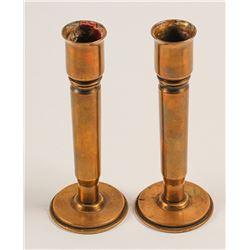 WW 2 Shell Art Candlestick Holders (pair)