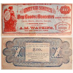 Rare Watkins $10 Advertising Note, 1882