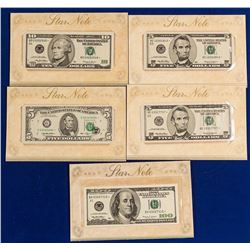 Five Star Notes, $5, $10, $100