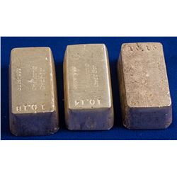 Three 10 Ounce Silver Ingots
