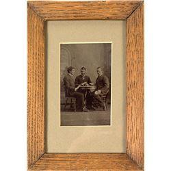 Framed Original Tin Type of Three Men Gambling