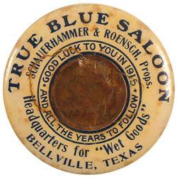 True Blue Saloon Encased Cent Mirror, Bellville, Texas