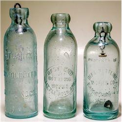 Three Hutch Soda Bottles