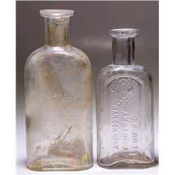 Willis Medicine Bottles, 2 Different, Carson City, Nevada