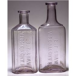 BF Shaw Medicine Bottles, 2 Different, Virginia City, Nevada