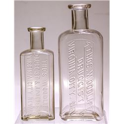 Thos. Woodliff Medicine Bottles (2), Virginia City, Nevada