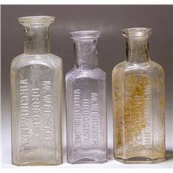 M. Webster Medicine Bottles (3), Virginia City, Nevada