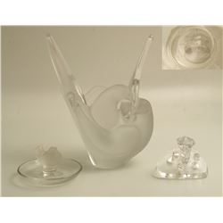 Two Lalique Signed Frosted Birds