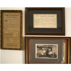 Western Liquor Licenses & Photo  - Perfect for the Saloon Collector