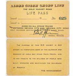 Rare Alder Gulch Short Line LIfe Railroad Pass