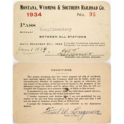 Rare Montana, Wyoming & Southern Railroad Co. Railroad Pass