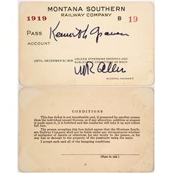 Rare Montana Southern Railway Co. Railroad Pass