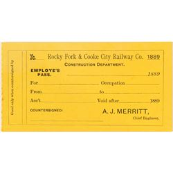 Rocky Fork & Cooke City Railway Co. Railroad Pass