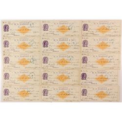 Set of 1880 RNG checks from the Banking House of W. B. Hamilton