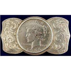 Peace Dollar Sterling Belt Buckle
