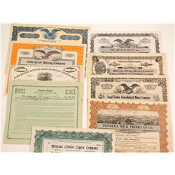 Montana Mining & Other Stock Certificates