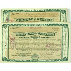 Norfolk and Western Railroad Company Stock Certificates
