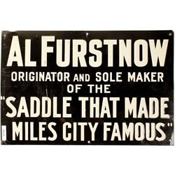 Al Furstnow Saddlery Embossed Tin Sign, Miles City, Montana