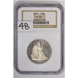 1874 50C Seated Liberty Half Dollar