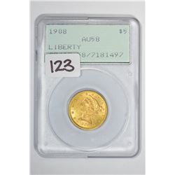 1908 $5 Liberty Head Half Eagle