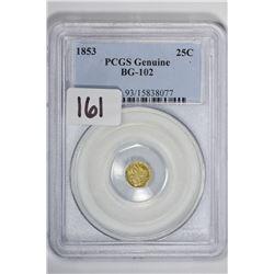 1853 25C Cal Gold BG-102